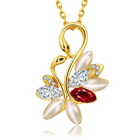 Shiny colorful Crystal Swan Necklace Fashion Metal Pendant Necklaces for Women Elegant Charming Opal Christmas Jewelry Gift