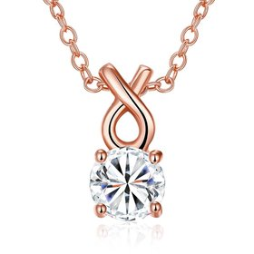 Trendy Rose Gold Round CZ Necklace Lovely Rhinestone Circle Necklace Women Jewelry Gift