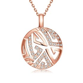 Hollow rose gold round Pendant Necklace Jewelry for Women Girls Cubic Zircon Cut Out Fashion Wedding Party Trendy Jewelry