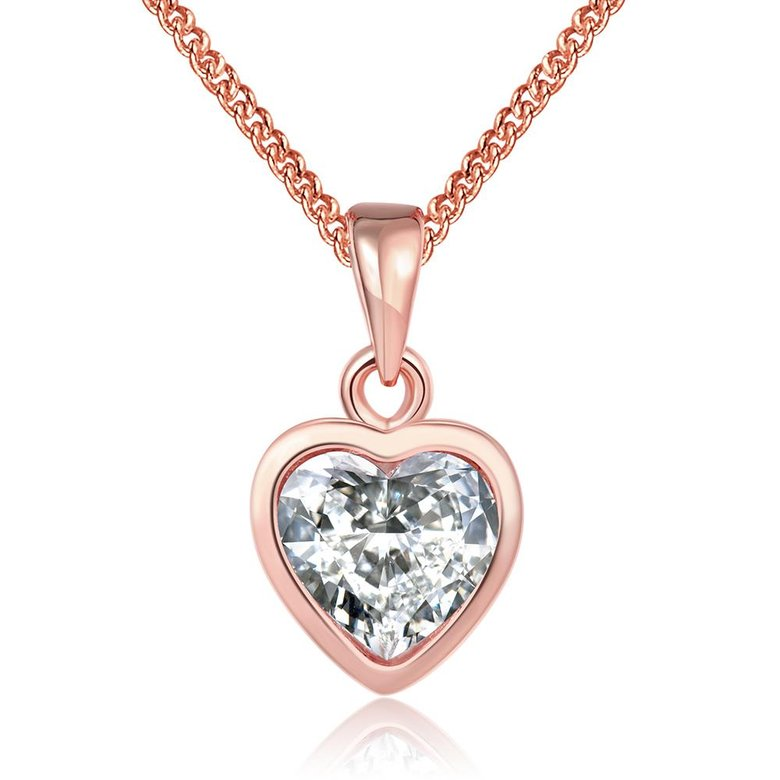 Wholesale JapanKorea Hot Sell rose Gold crystal Necklace for women Girls Love Memory Heart Necklace Valentine's Day Gift Couple Jewelery TGGPN039