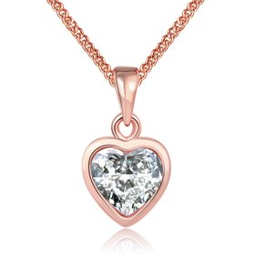 JapanKorea Hot Sell rose Gold crystal Necklace for women Girls Love Memory Heart Necklace Valentine's Day Gift Couple Jewelery