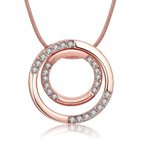 Wholesale Fashion Rose Gold Round Planet Zircon Necklace Pendant Timeless Charm With Distinctive Design For Women Fine Jewelry Gift TGGPN019