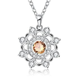 Wholesale Classic Silver plated Geometric CZ Necklace round hollow high quality women jewelry TGSPN016
