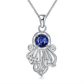 Wholesale Romantic Silver Plated blue CZ retro Necklace delicate hot sale women jewelry TGSPN009