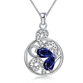 Wholesale Romantic Silver Plated blue CZ hollow round Necklace delicate hot sale women jewelry TGSPN010