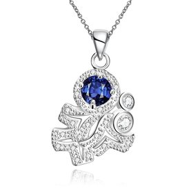Wholesale Romantic Silver Plated blue CZ retro Necklace delicate hot sale women jewelry TGSPN011