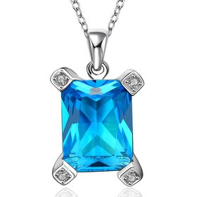 Wholesale Classic rhodium plated Geometric CZ Necklace TGCZN022