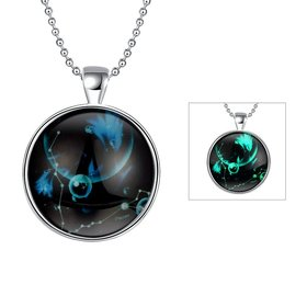 Wholesale Trendy Constellation Pisces Noctilucent Necklace TGLP002