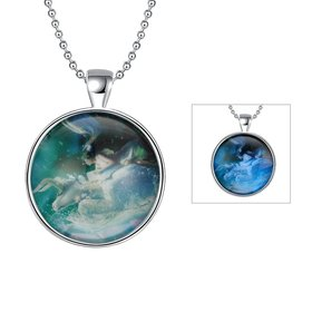 Wholesale Trendy Constellation Blue Taurus Noctilucent Necklace TGLP011