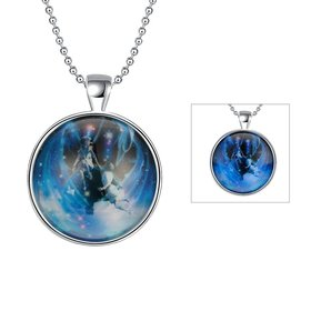 Wholesale Trendy Constellation Blue Gemini Luminous Necklace TGLP017