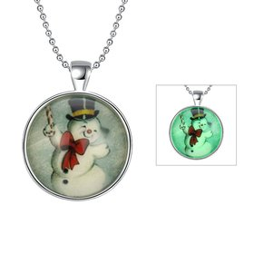 Wholesale Trendy Christmas Snowman Luminous Necklace TGLP024