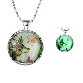 Wholesale Trendy Christmas Deer Luminous Necklace TGLP030