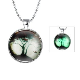 Wholesale Trendy Plant Wishing Tree Luminous Necklace TGLP034