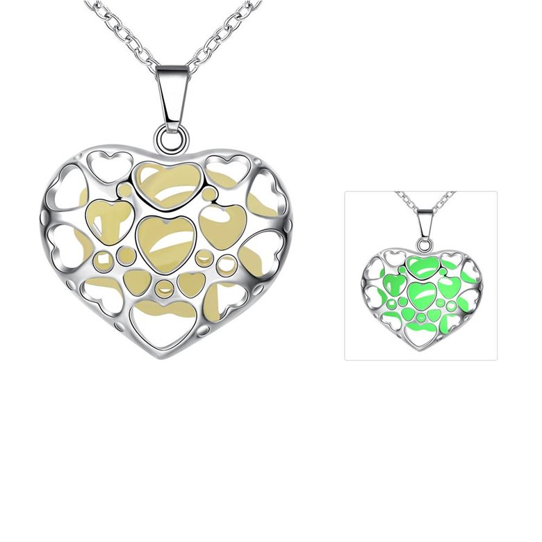 Wholesale Romantic Silver Heart Necklace TGLP116