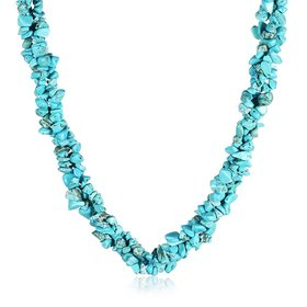 Wholesale Vintage Geometric Blue Crystal Necklace TGNSP058