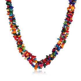Vintage Geometric Multicolor Crystal Necklace