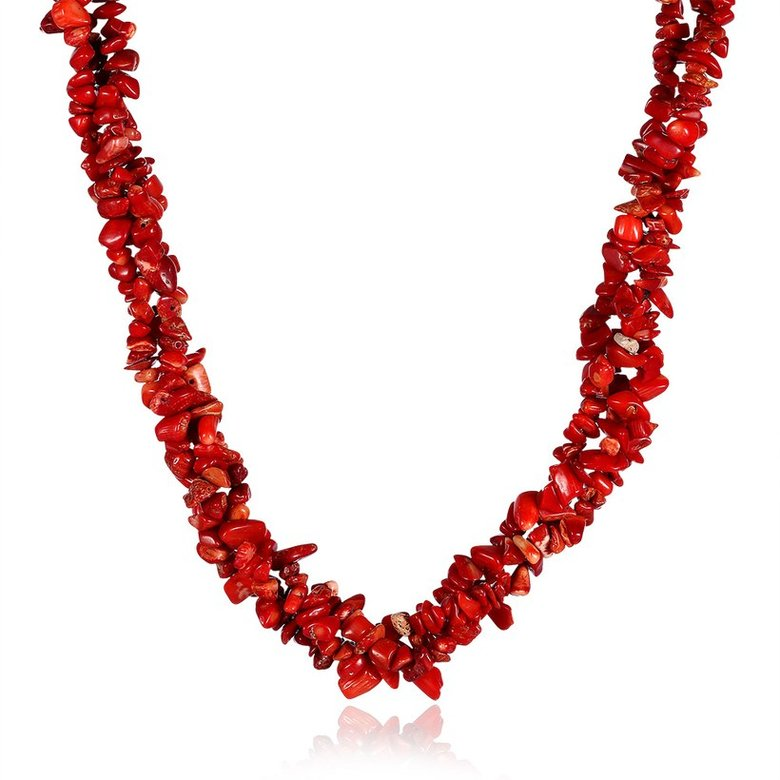 Wholesale Vintage Geometric Red Crystal Necklace TGNSP075