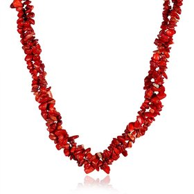 Vintage Geometric Red Crystal Necklace