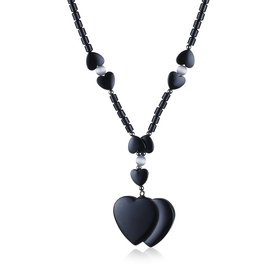 Wholesale Vintage Rhodium Heart Semi-precious Stone Necklace TGNSP020