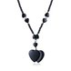 Vintage Rhodium Heart Semi-precious Stone Necklace