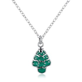 Wholesale Trendy Silver Green Tree NecklaceChristmas Gift TGSPN586