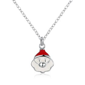 Wholesale Trendy Silver White Father Christmas Necklace Holiday Gift TGSPN614