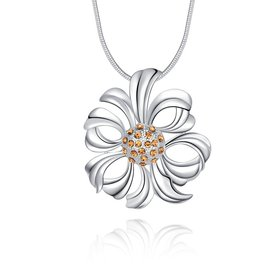 Wholesale Fashion Trendy Silver Hollow Flower Crystal Necklace TGSPN459