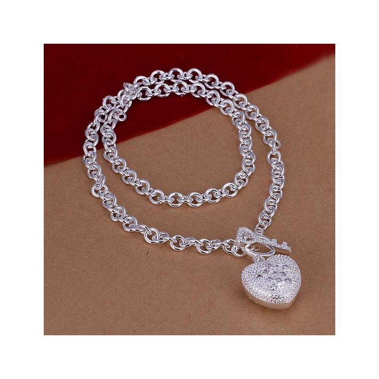 Wholesale Trendy Silver Heart Necklace TGSPN529