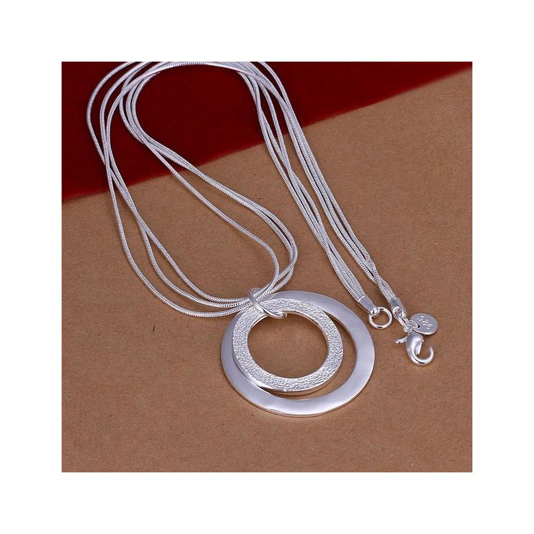Wholesale Romantic Silver Round Necklace TGSPN601