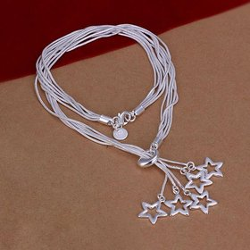 Wholesale Romantic Silver Star Necklace TGSPN724