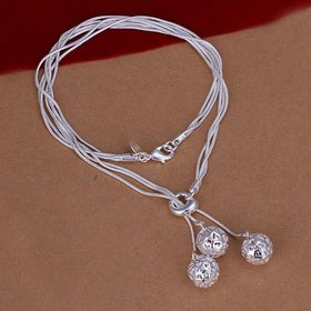 Wholesale Classic Silver Ball Necklace TGSPN772