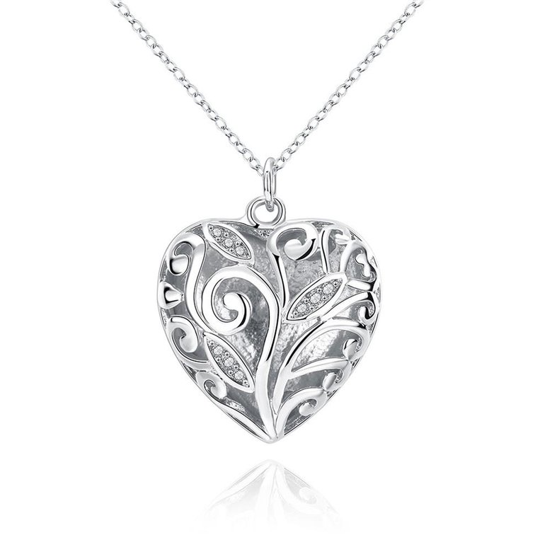 Wholesale Romantic Silver Heart Necklace TGSPN061