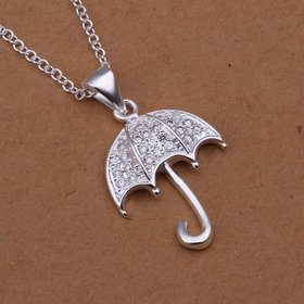 Wholesale Romantic Silver Star CZ Necklace TGSPN165