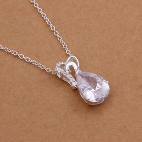 Wholesale Romantic Silver Water Drop CZ Necklace TGSPN228