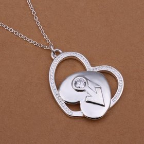 Wholesale Trendy Silver Heart CZ Necklace TGSPN272