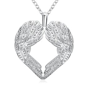 Wholesale Romantic Silver Heart Necklace TGSPN280