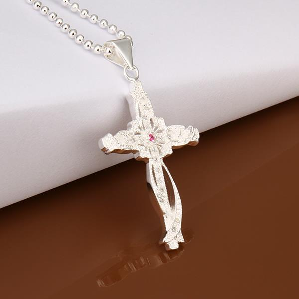 Wholesale Trendy Silver Cross CZ Necklace TGSPN320