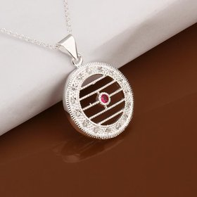 Wholesale Classic Silver Geometric CZ Necklace TGSPN357