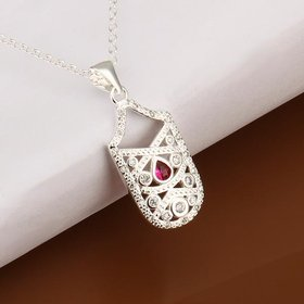 Wholesale Trendy Silver Geometric CZ Necklace TGSPN382