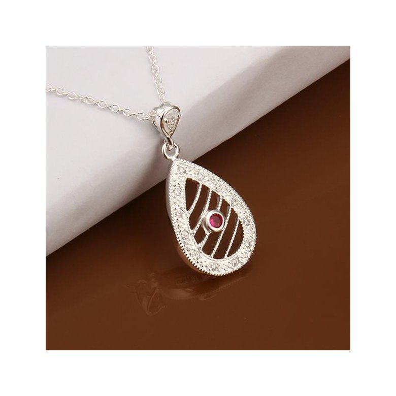 Wholesale Romantic Silver Water Drop Ceramic Necklace TGSPN396