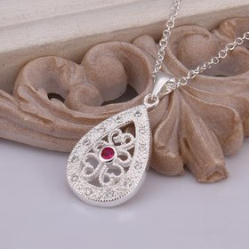Wholesale Classic Silver Water Drop CZ Necklace TGSPN421