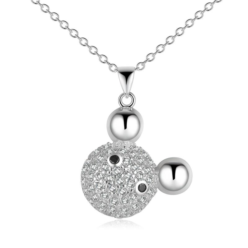 Wholesale Romantic Silver Ball CZ Necklace TGSPN574