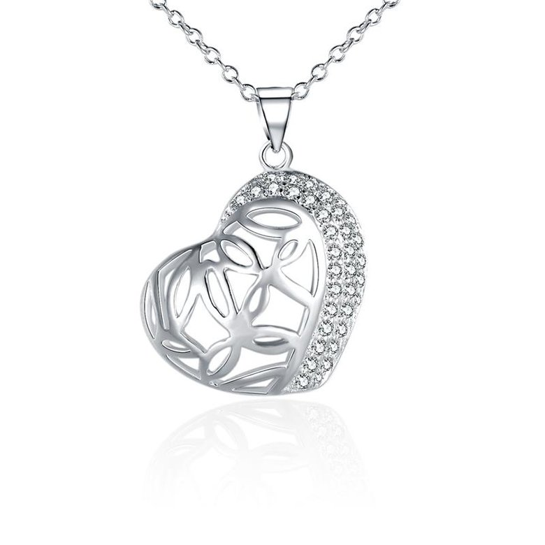 Wholesale Romantic Silver Heart CZ Necklace TGSPN588