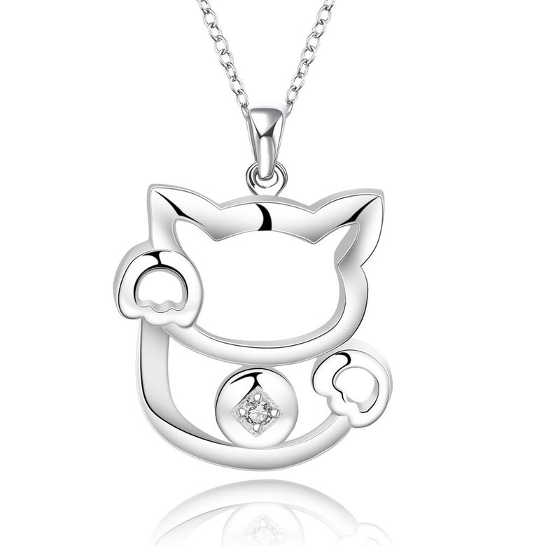 Wholesale Trendy Silver Animal White CZ Necklace TGSPN681