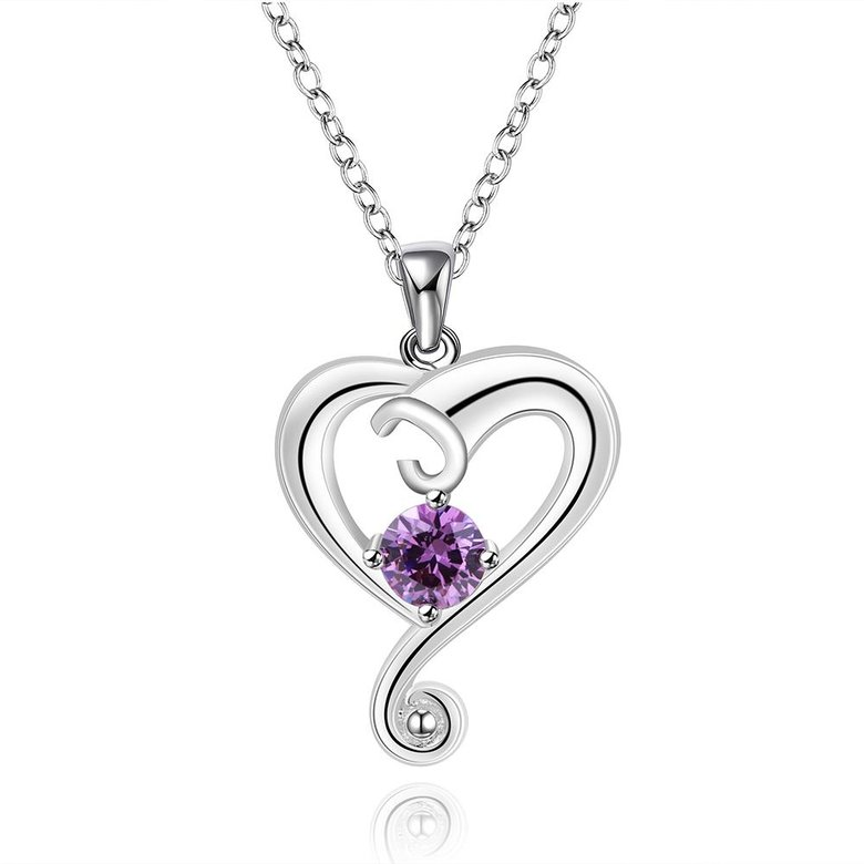 Wholesale Romantic Silver Heart CZ Necklace TGSPN686