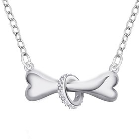 Wholesale Romantic Silver Animal CZ Necklace TGSPN731