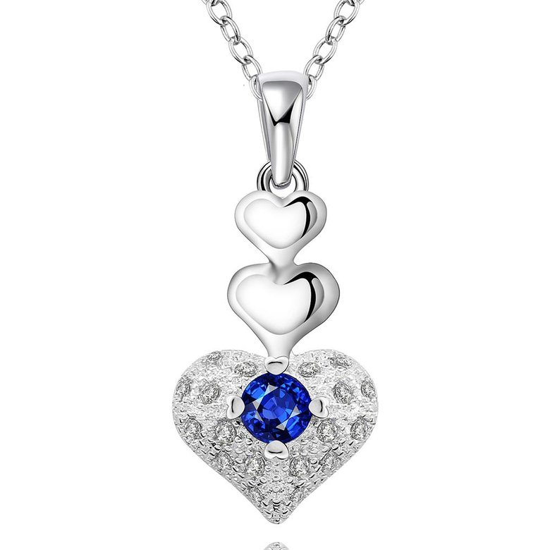 Wholesale Trendy Silver Heart CZ Necklace TGSPN764
