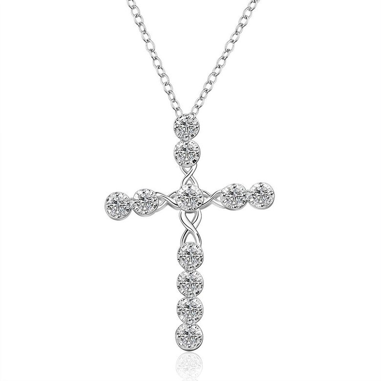 Wholesale Trendy Silver Cross CZ Necklace TGSPN085