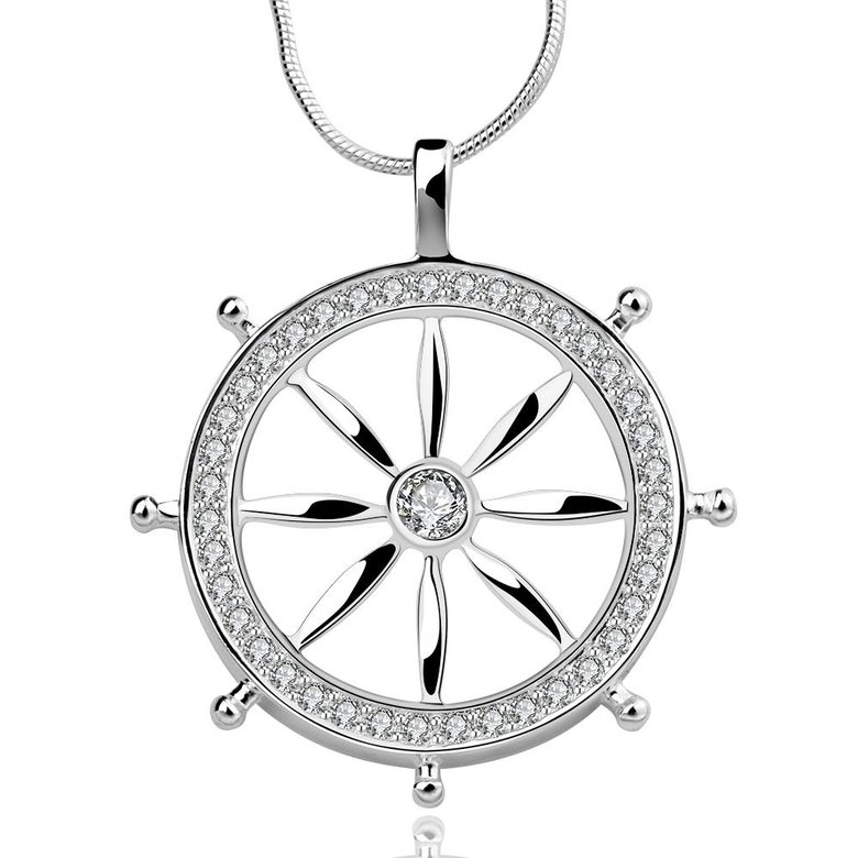 Wholesale Trendy Silver Round CZ Necklace TGSPN117
