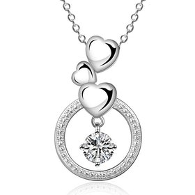 Wholesale Trendy Silver Heart CZ Necklace TGSPN158